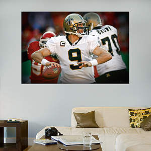 Drew Brees In Your Face Mural Fathead Wall Decal